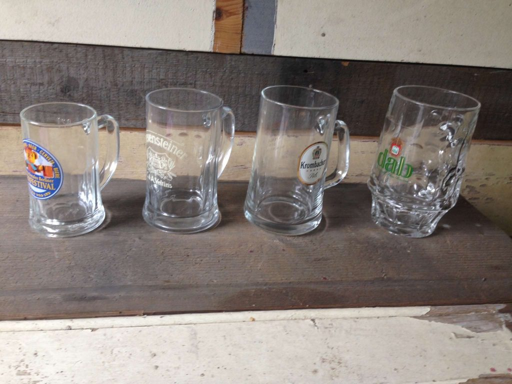 Vintage beer mugs in different sizes