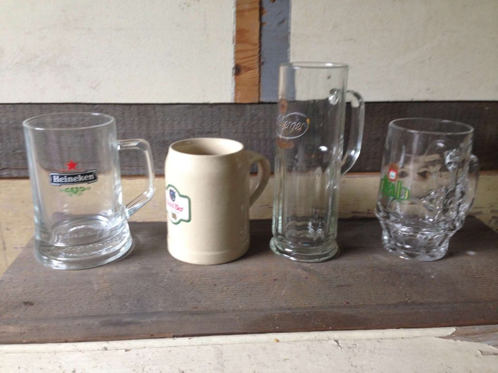 Same size vintage beer mugs