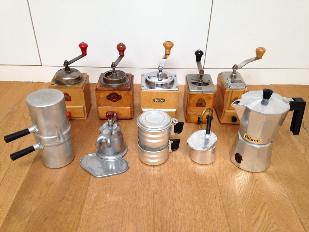 Vintage coffee tools grinders and pots