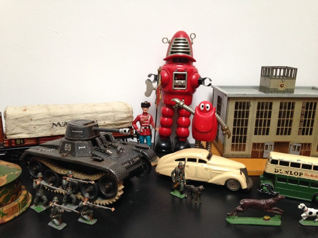 Vintage tin toys, toy soldiers, cars trains