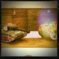 Tin plate toy 2x tanks mechanical 1960 Japan