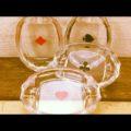 Set of 4 glass poker ashtrays 1980 Czechoslovakia