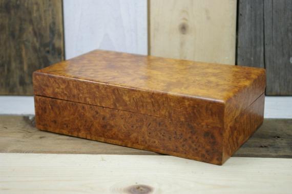 Handcrafted Burl Wood Desk Cigar Box