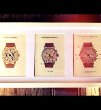 Chronograph art 3x original 1951 print advertising Switzerland